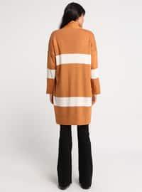 Ecru - Orange - Stripe - Acrylic -  - Cardigan
