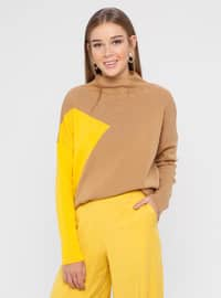 Camel - Mustard - Polo neck - Acrylic - Jumper