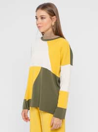 Khaki - Yellow - Crew neck - Acrylic -  - Jumper