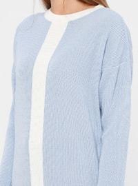 Ecru - Blue - Crew neck - Acrylic -  - Tunic