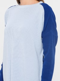 Blue - Saxe - Crew neck - Acrylic -  - Tunic
