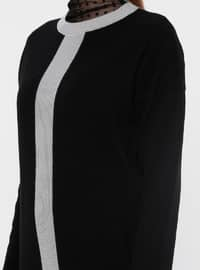 Gray - Black - Crew neck - Acrylic -  - Tunic