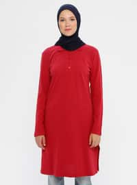 Red - Point Collar -  - Tunic