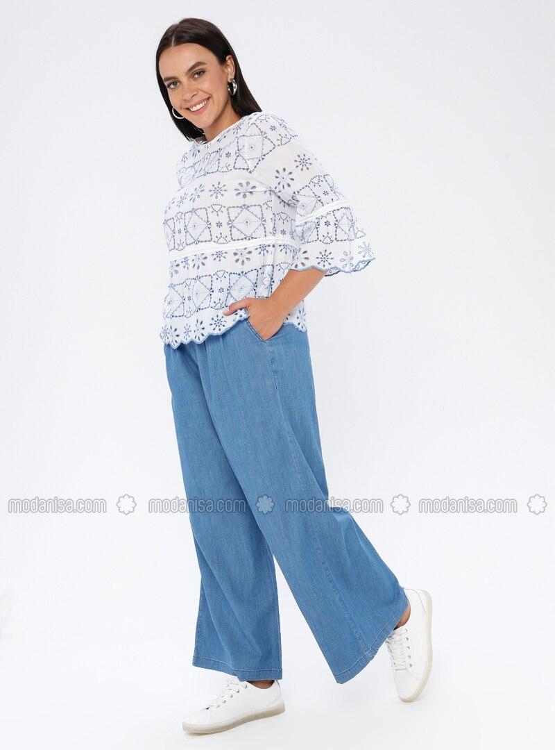 Blue - Denim -  - Plus Size Pants