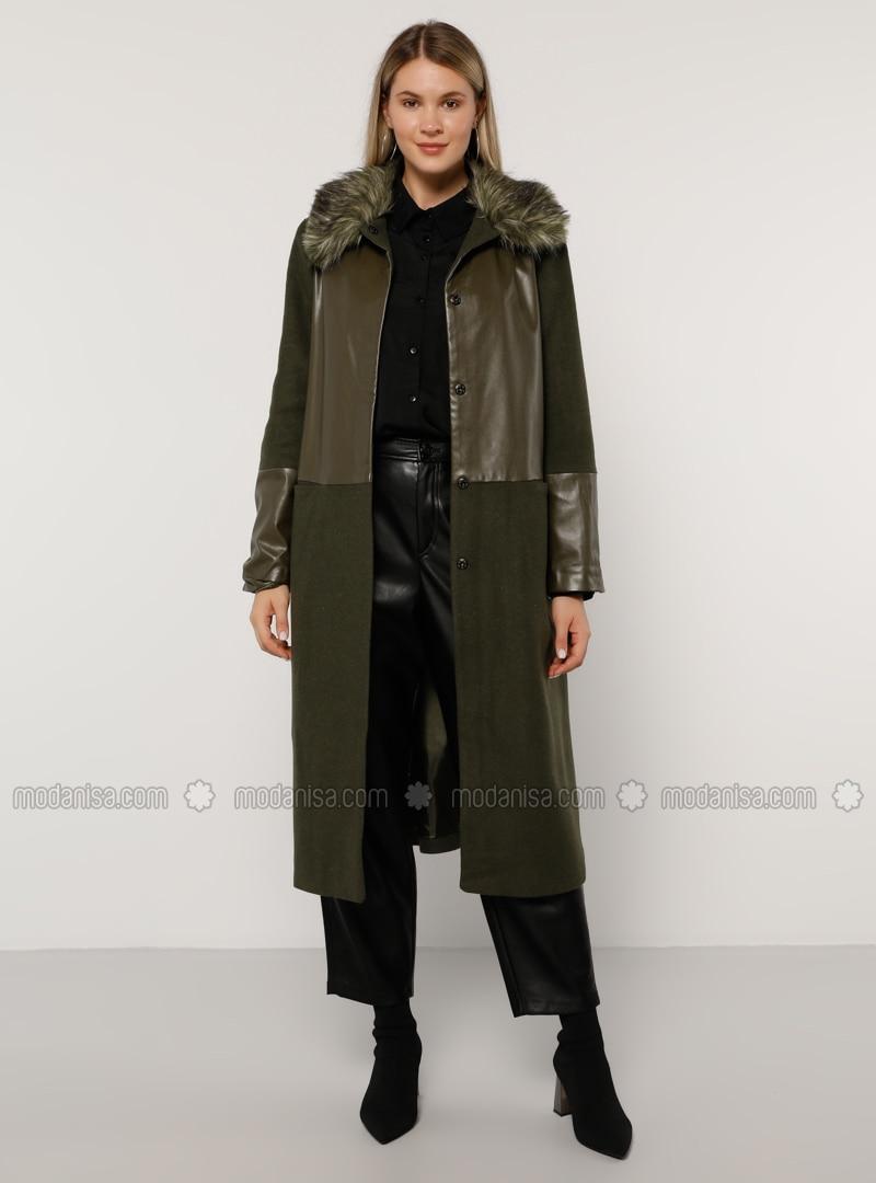 Khaki - Fully Lined - Acrylic - Plus Size Overcoat
