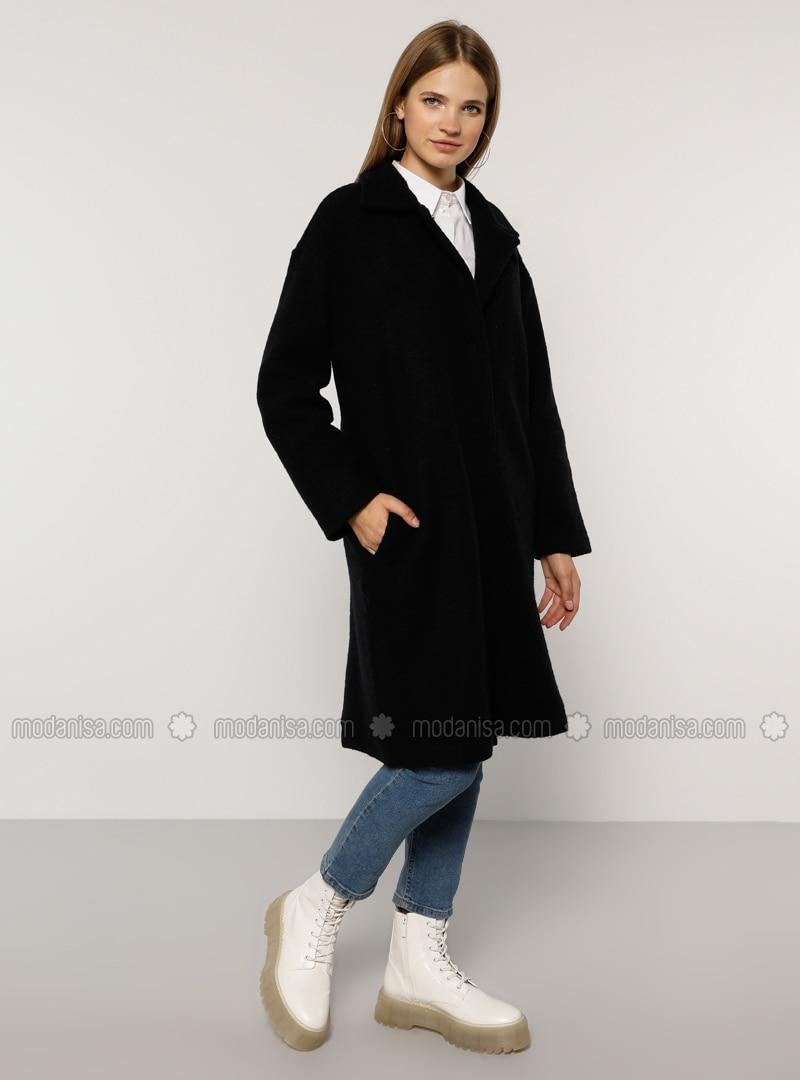 Navy Blue - Unlined - Acrylic - Wool Blend - Plus Size Overcoat