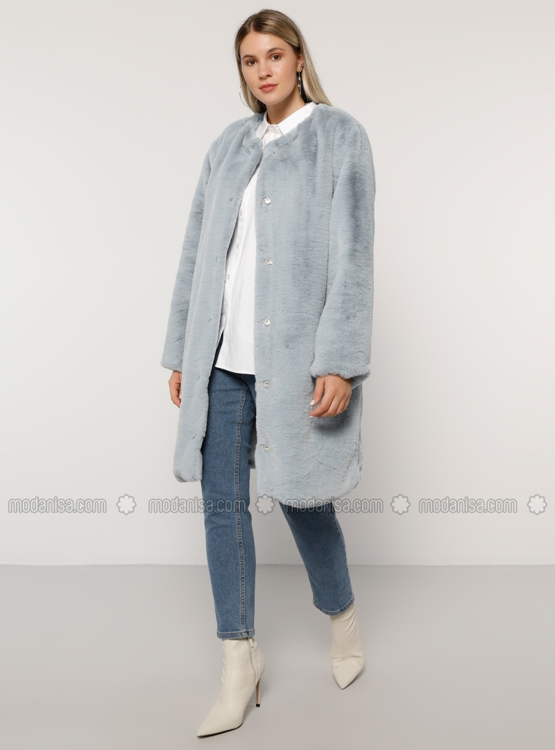 Blue - Fully Lined - Plus Size Overcoat
