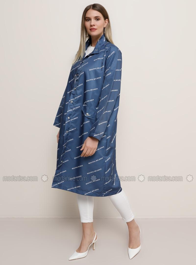Indigo - Blue - Multi - Unlined - Polo neck - Plus Size Coat