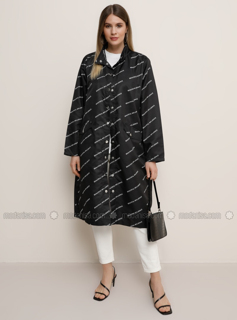 Black - Multi - Unlined - Polo neck - Plus Size Coat