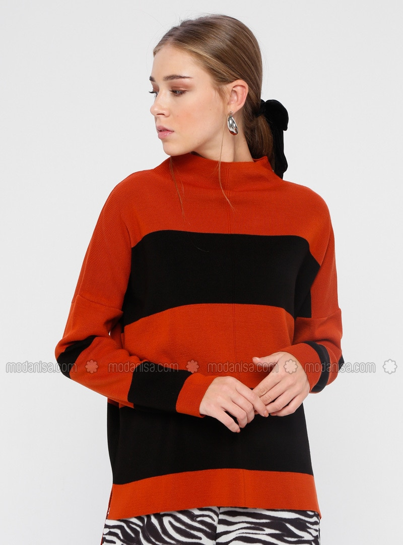 Terra Cotta - Black - Stripe - Polo neck - Acrylic - Jumper