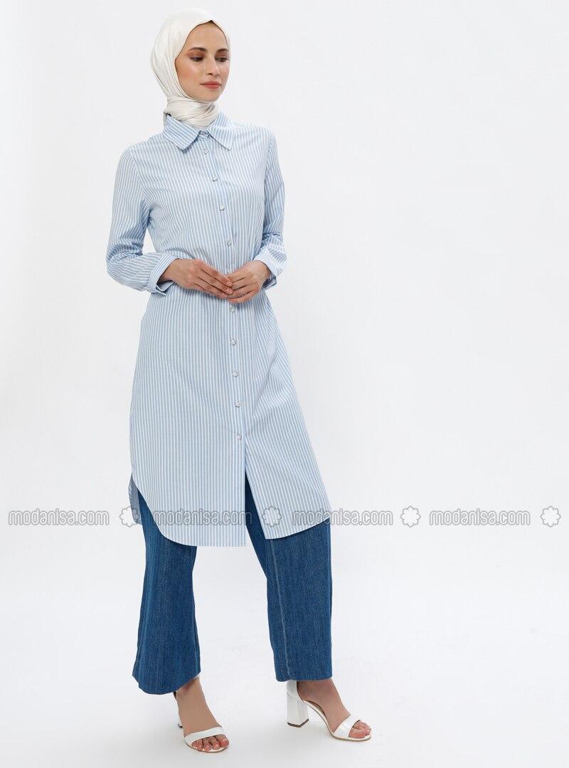 White - Blue - Stripe - Point Collar -  - Tunic