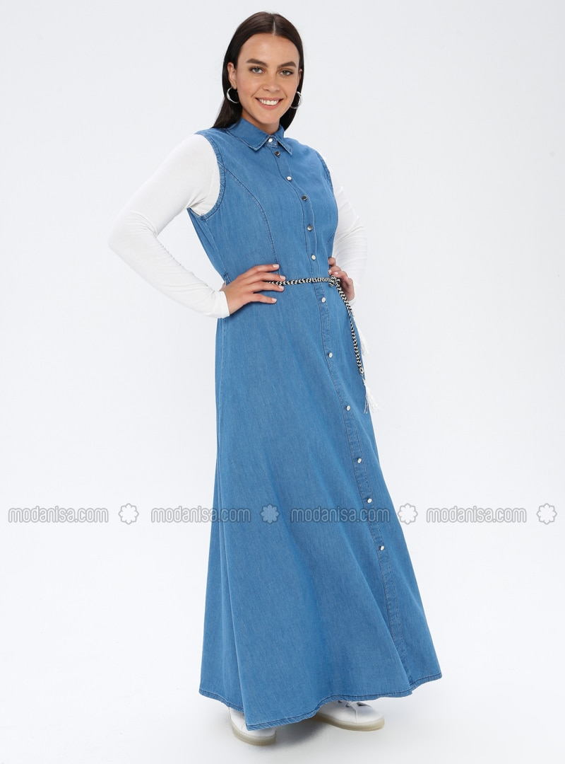 Blue - Unlined - Point Collar - Denim - - Plus Size Dress