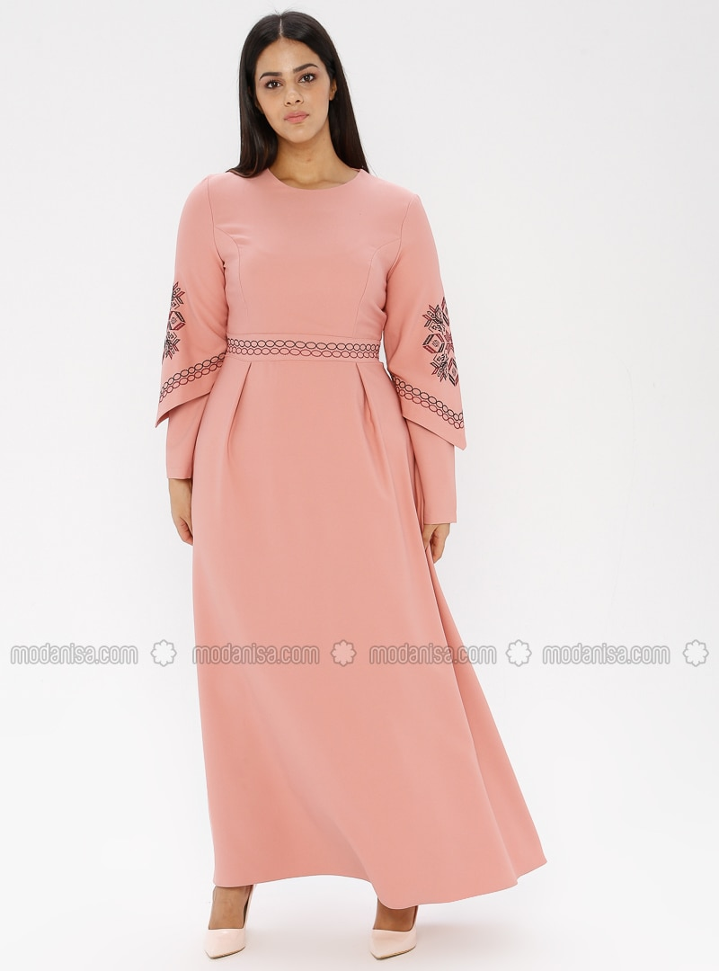 Pink - Unlined - Crew neck - Plus Size Dress