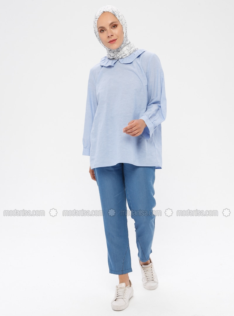 Blue - Denim -  Lyocell -  - Pants