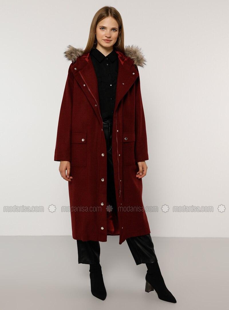 Maroon - Fully Lined - Acrylic -  - Plus Size Overcoat