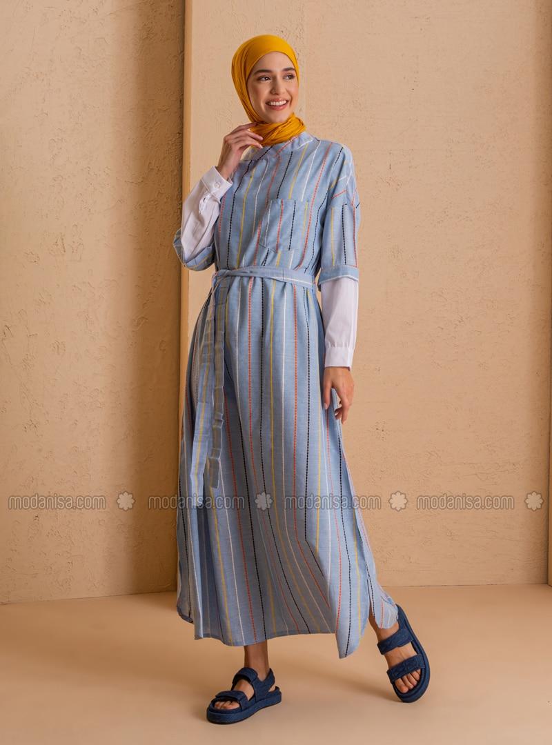 Blue - Stripe - Crew neck - Unlined - Dress