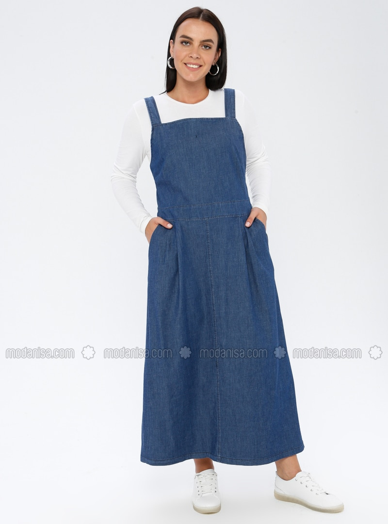 Navy Blue - Unlined - Sweatheart Neckline - Denim - - Plus Size Dress