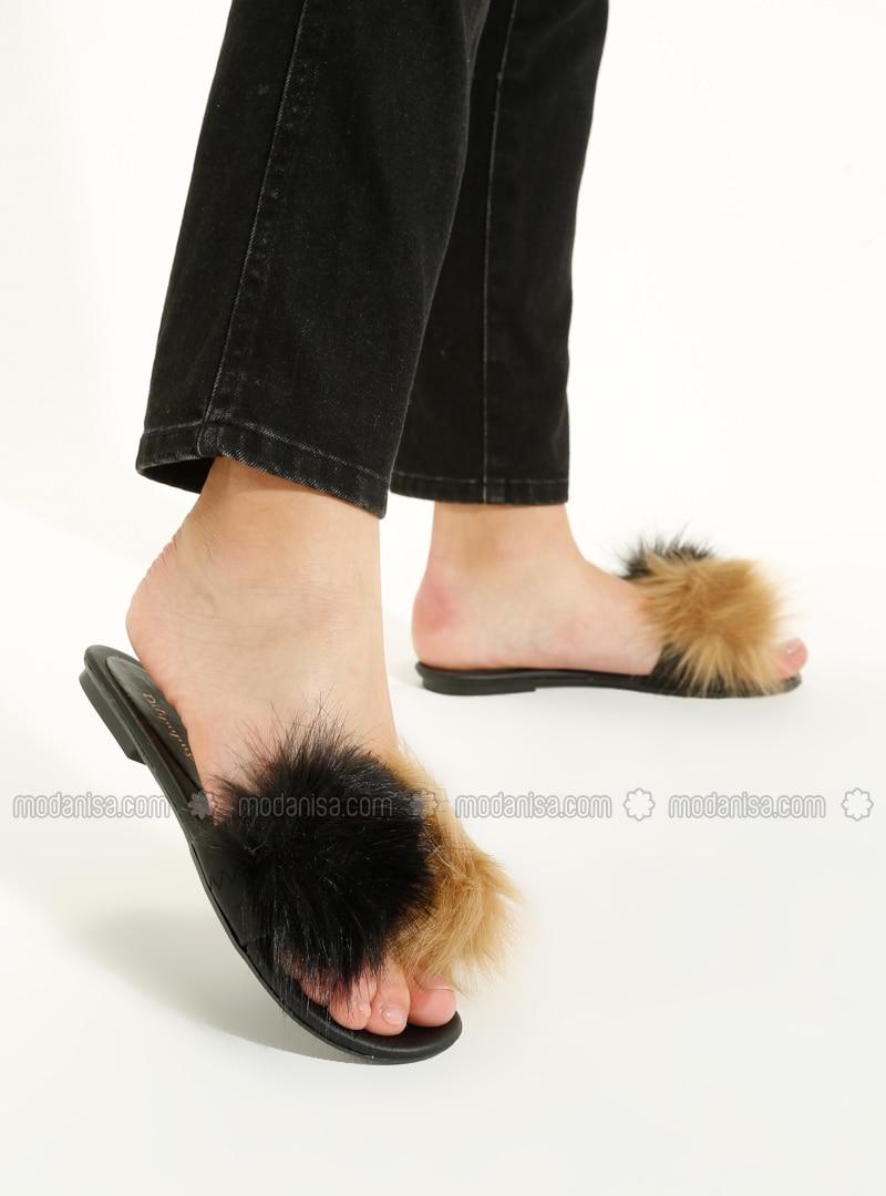 Black - Mink - Sandal - Slippers
