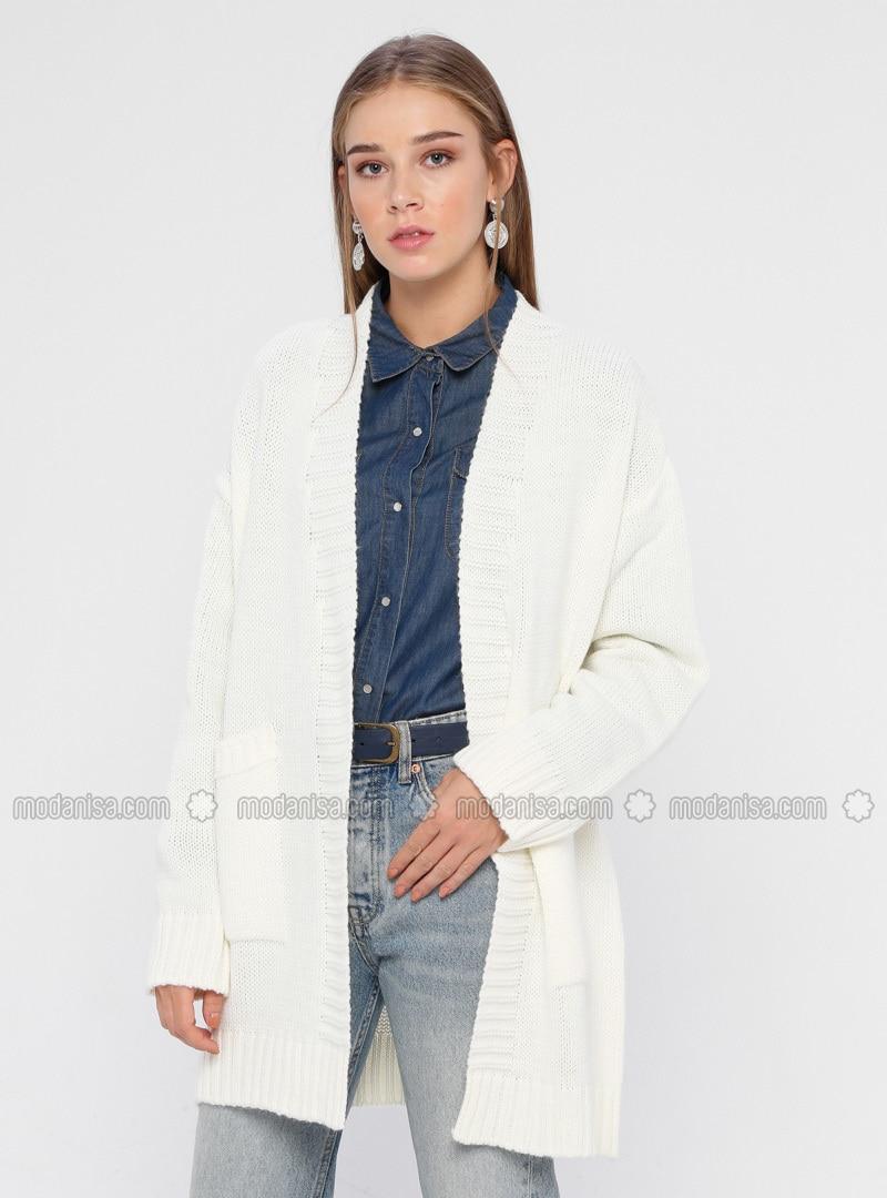 Ecru - Shawl Collar - Acrylic -  - Cardigan