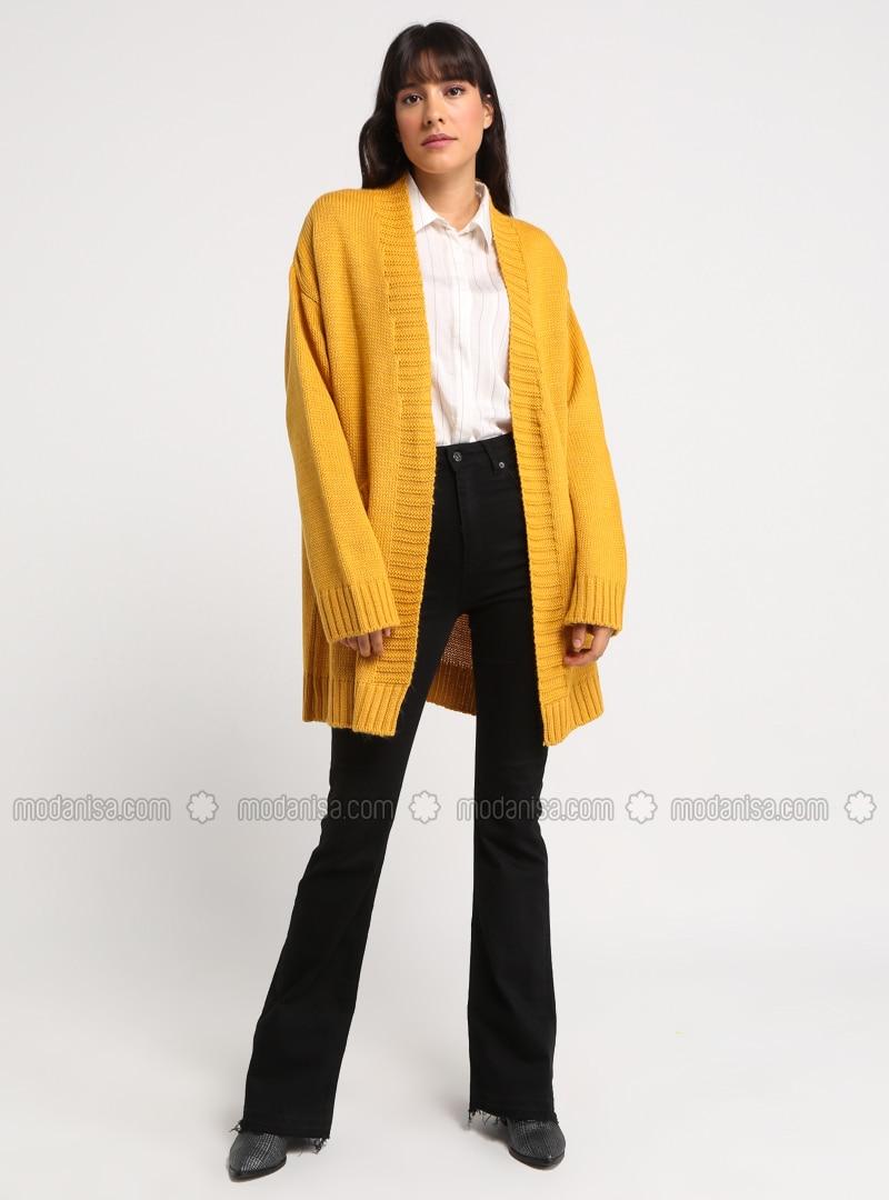 Mustard - Shawl Collar - Acrylic -  - Cardigan