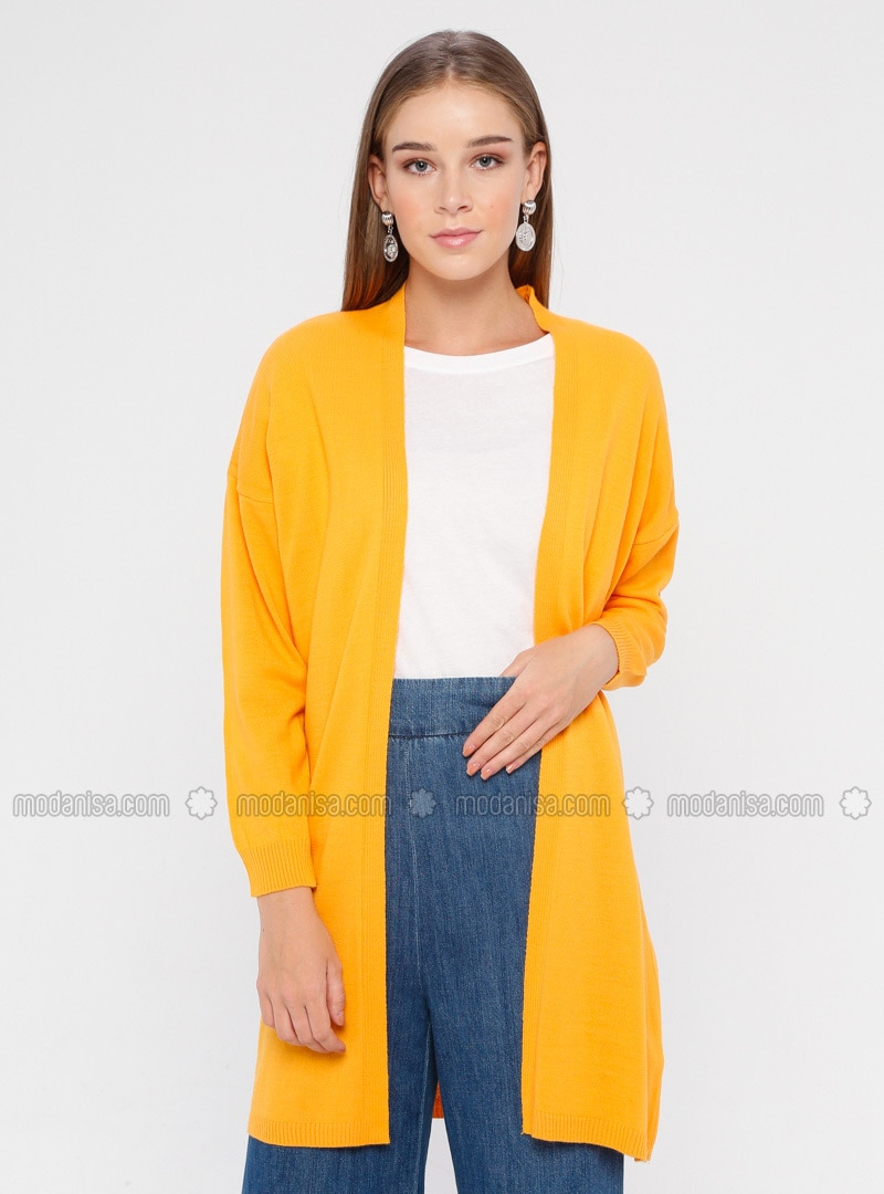 Orange - Acrylic -  - Cardigan