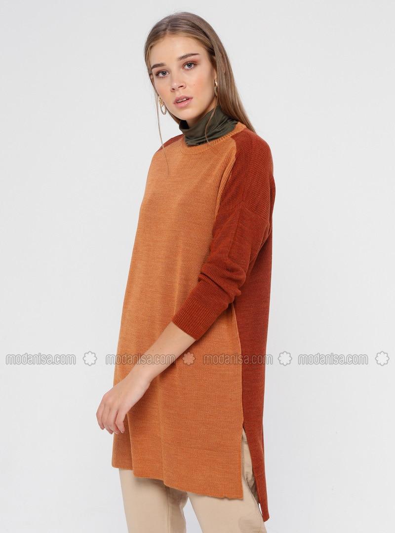 Tan - Orange - Crew neck - Acrylic -  - Tunic