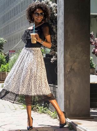 White - Black - Polka Dot - Skirt