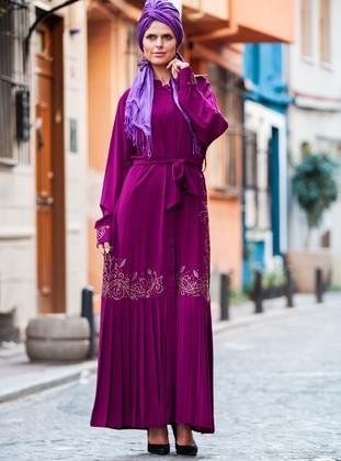 Purple - Crew neck - Viscose - Abaya