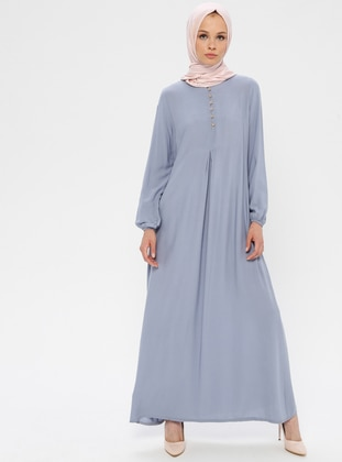 Gray - Crew neck - Unlined - Viscose - Dress