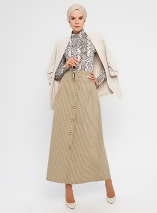 Brown - Stripe - Checkered - Unlined - Skirt