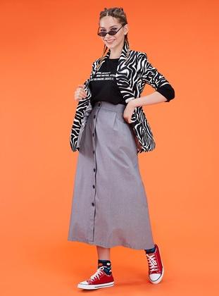 White - Black - Geometric - Checkered - Unlined - Skirt