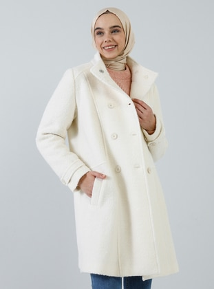 White - Ecru - Fully Lined - Polo neck - Wool Blend - Coat