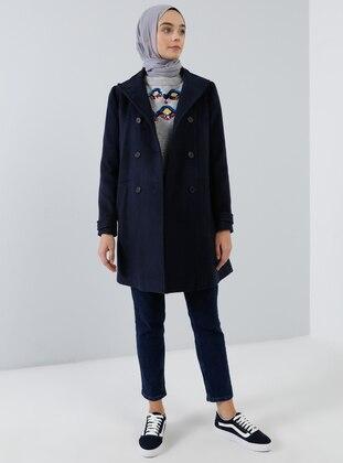 Navy Blue - Fully Lined - Shawl Collar - Acrylic -  - Coat