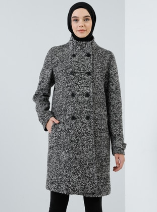 Black - Fully Lined - Polo neck - Wool Blend - Coat