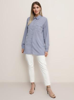 Lilac - Point Collar - Plus Size Blouse