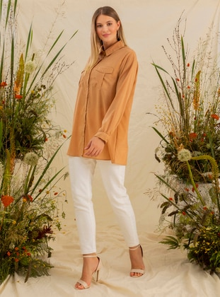 Camel - Point Collar - Plus Size Blouse