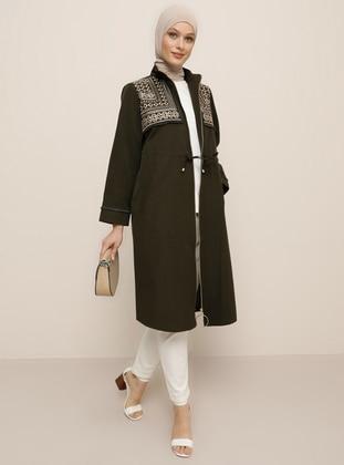 Khaki - Unlined - Polo neck -  - Trench Coat