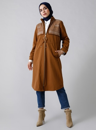 Tan - Unlined - Polo neck -  - Trench Coat