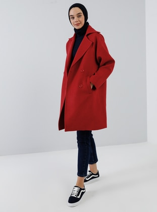 Red - Fully Lined - Shawl Collar - Acrylic -  - Coat
