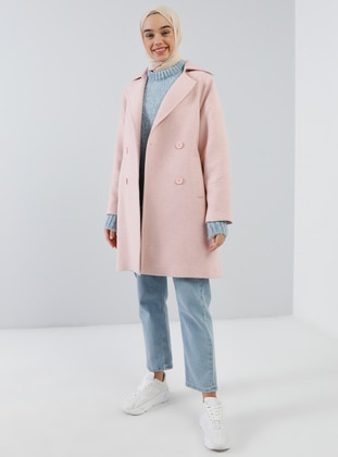 Pink - Fully Lined - Shawl Collar - Acrylic -  - Coat
