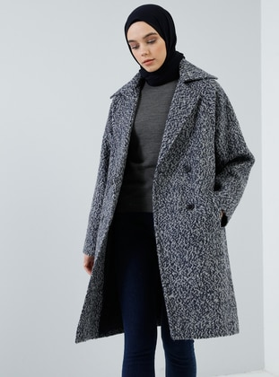 Navy Blue - Fully Lined - Shawl Collar - Wool Blend - Coat