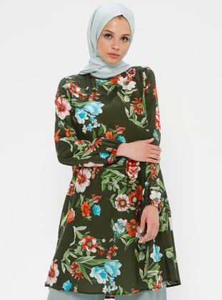 Khaki - Terra Cotta - Floral - Crew neck - Tunic