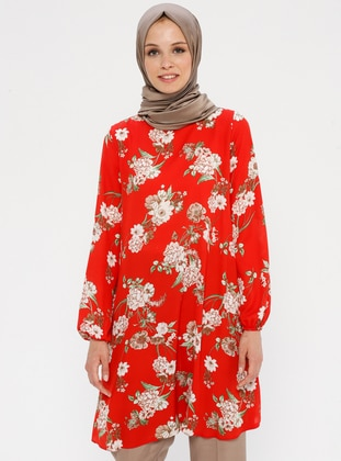 Beige - Red - Floral - Crew neck - Tunic