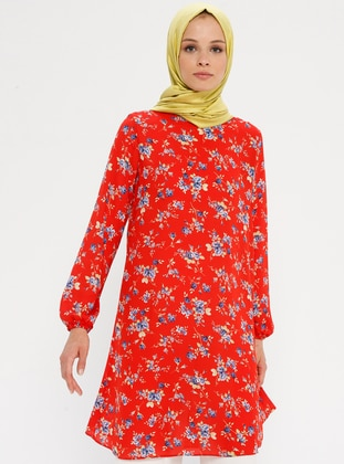 Red - Mink - Floral - Crew neck - Tunic