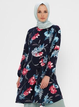 Fuchsia - Navy Blue - Floral - Crew neck - Tunic