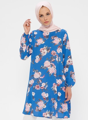Blue - Pink - Floral - Crew neck - Tunic