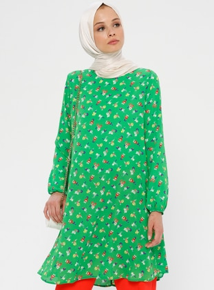 Red - Green - Floral - Crew neck - Tunic