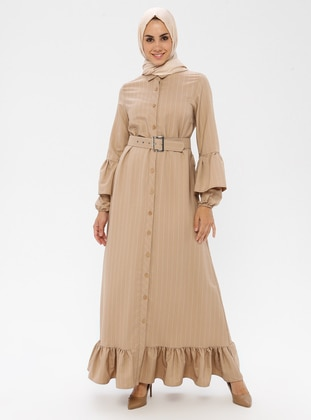 Camel - Stripe - Point Collar - Unlined - Dress