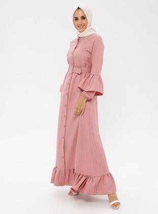 Powder - Stripe - Point Collar - Unlined - Dress