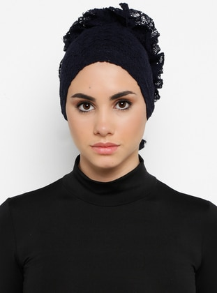 Navy Blue - Lace up - Lace - Bonnet